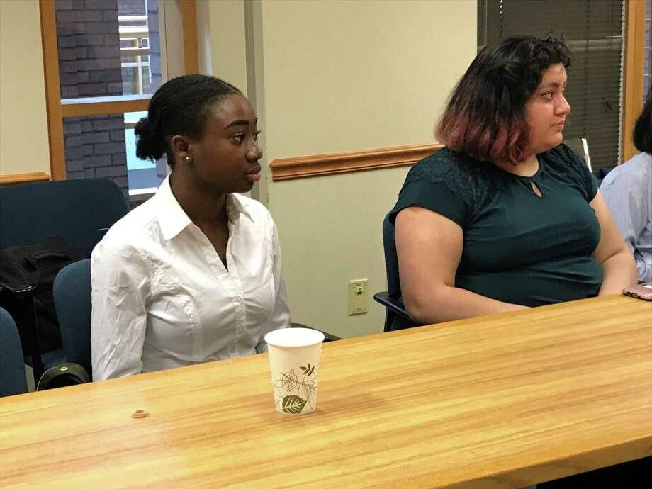 Candidates Lihame Arouna and Sofia Morales Photo: Brian Zahn / Hearst Connecticut Media