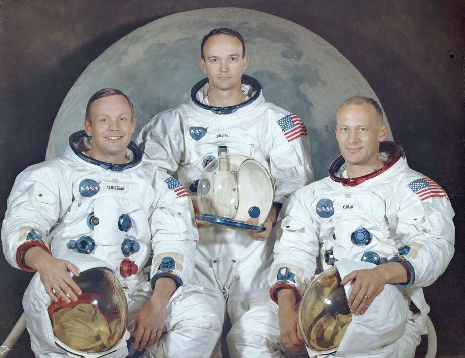 This July 16, 1969 photos is the official crew portrait of the Apollo 11 astronauts. Pictured from left are: Neil Armstrong, Commander; Michael Collins, Module Pilot; Buzz Aldrin, Lunar Module Pilot. Photo: NASA / NASA