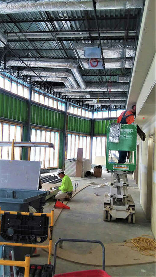 A view of drywall going up in the hospital's infusion area.