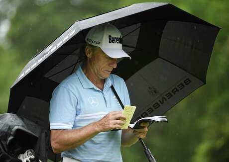 Bernhard Langer checks his notes on the #10 tee during the first round of the Insperity Invitational golf tournament, Friday, May 3, 2019, in The Woodlands, TX.