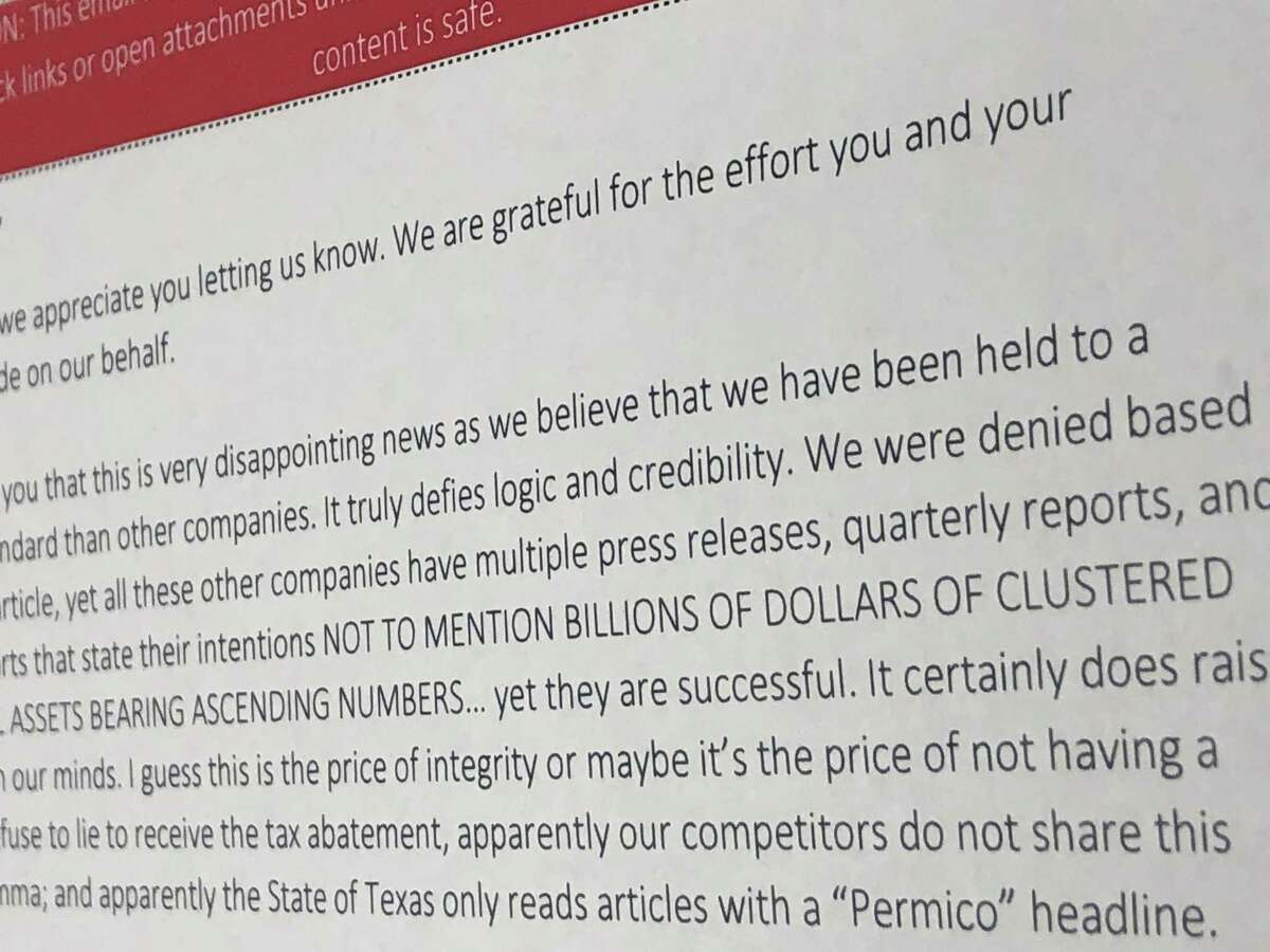 """Jeffrey Beicker, the CEO of Permico Energia, did not mince words in his July 2018 email to the Texas Comptroller's Office, which had just denied his company's request for a Chapter 313 property tax incentive package. """"We refuse to lie to receive the tax abatement,"""" he wrote. """"Apparently our competitors do not share this moral dilemma."""""""