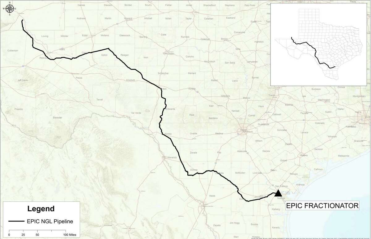 The route of the EPIC NGL pipeline, which will extend from the Permian Basin in southeast New Mexico and West Texas to Corpus Christi.