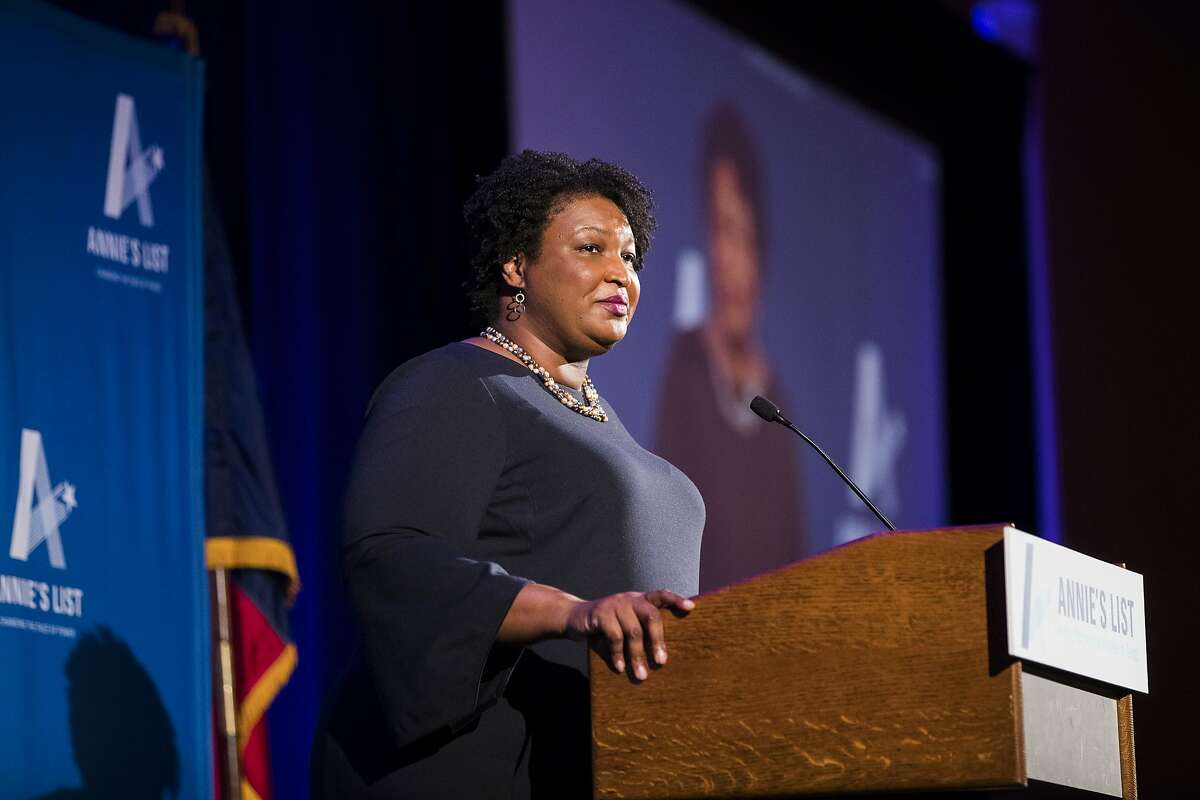 Georgia politician and author Stacey Abrams gives a speech at a Annie's List event on Friday, May 3, 2019, in Houston.