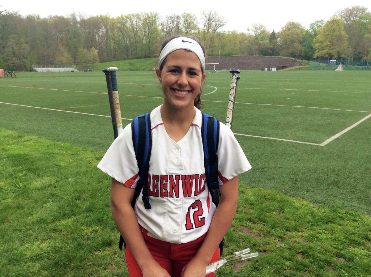 Greenwich senior Sophia Prieto pitched a complete game and helped lead the Cardinals at the plate in their 12-2 win over Wilton on Friday in Greenwich.