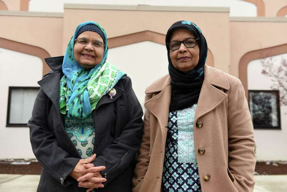 Zarina Chaudhry, left, and Shakira Baig, right, are pictured outside the Islamic Center of the Capital District on Wednesday, May 1, 2019, in Colonie, N.Y. (Will Waldron/Times Union)
