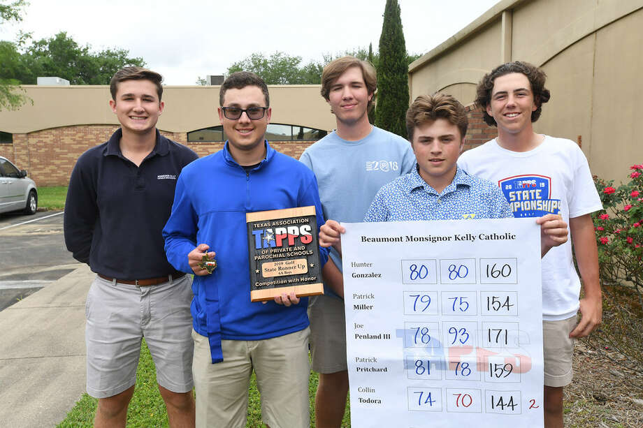Kelly High School's, from left, Joe Penland, Collin Todora, Patrick Pritchard, Hunter Gonzales and Patrick Miller at the Bulldog's school on Friday. The team recently won second place in the Texas Association of Private and Parochial Schools state golf tournament.