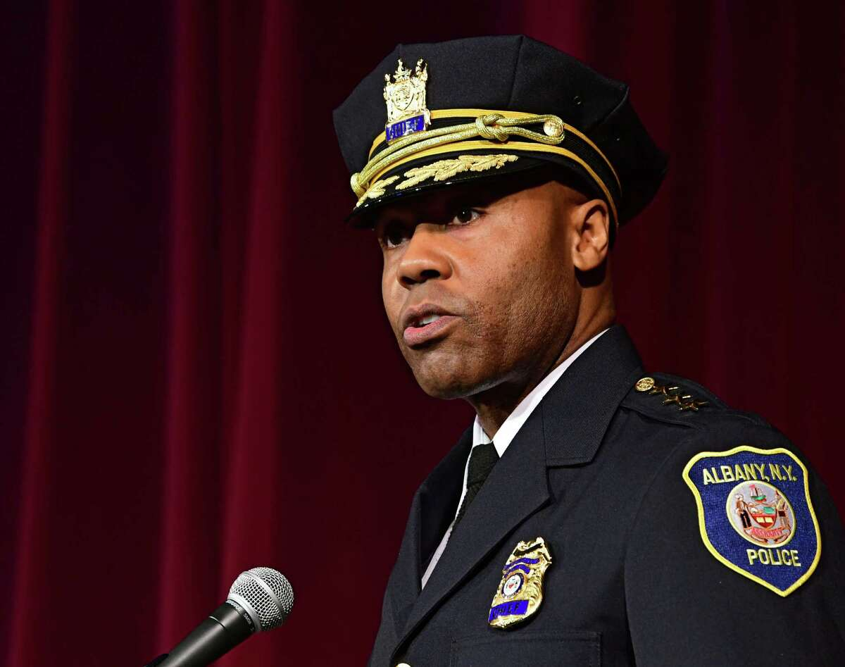 Albany Police Chief Eric Hawkins delivers the chief address as 15 of AlbanyOs newest police officers graduate from the 3rd session of the Albany Police Academy at the Palace Theatre on Friday, May 3, 2019 in Albany, N.Y. (Lori Van Buren/Times Union)