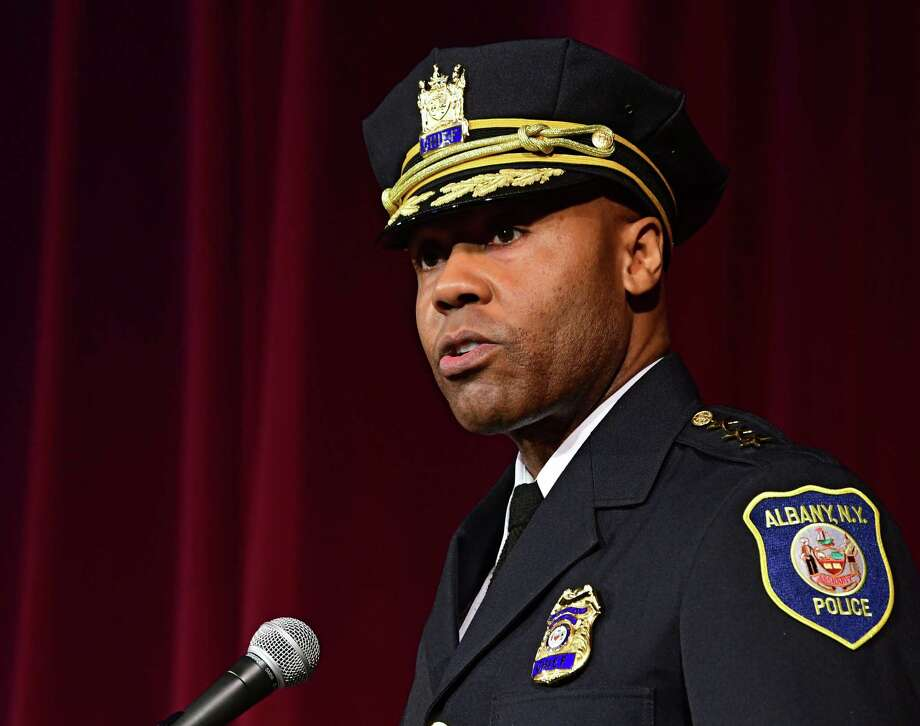 Albany Police Chief Eric Hawkins delivers the chief address as 15 of AlbanyOs newest police officers graduate from the 3rd session of the Albany Police Academy at the Palace Theatre on Friday, May 3, 2019 in Albany, N.Y. (Lori Van Buren/Times Union) Photo: Lori Van Buren / 20046837A