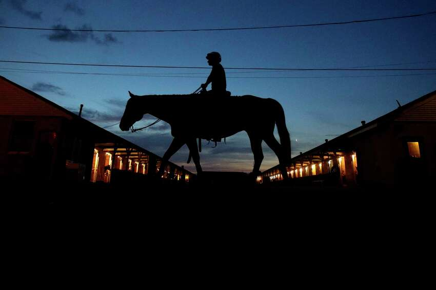 A horse is ridden to the track for a workout at Churchill Downs in 2019. The track management opposes the Horseracing Integrity Act. (AP Photo/Charlie Riedel)