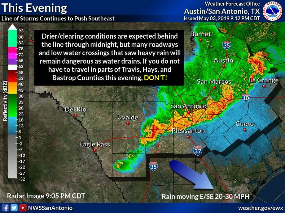 Storms struck Central and South Texas late Friday, causing roads and creeks to flood and at least one fatal wreck in the San Antonio area. Photo: NWS San Antonio/Austin Twitter