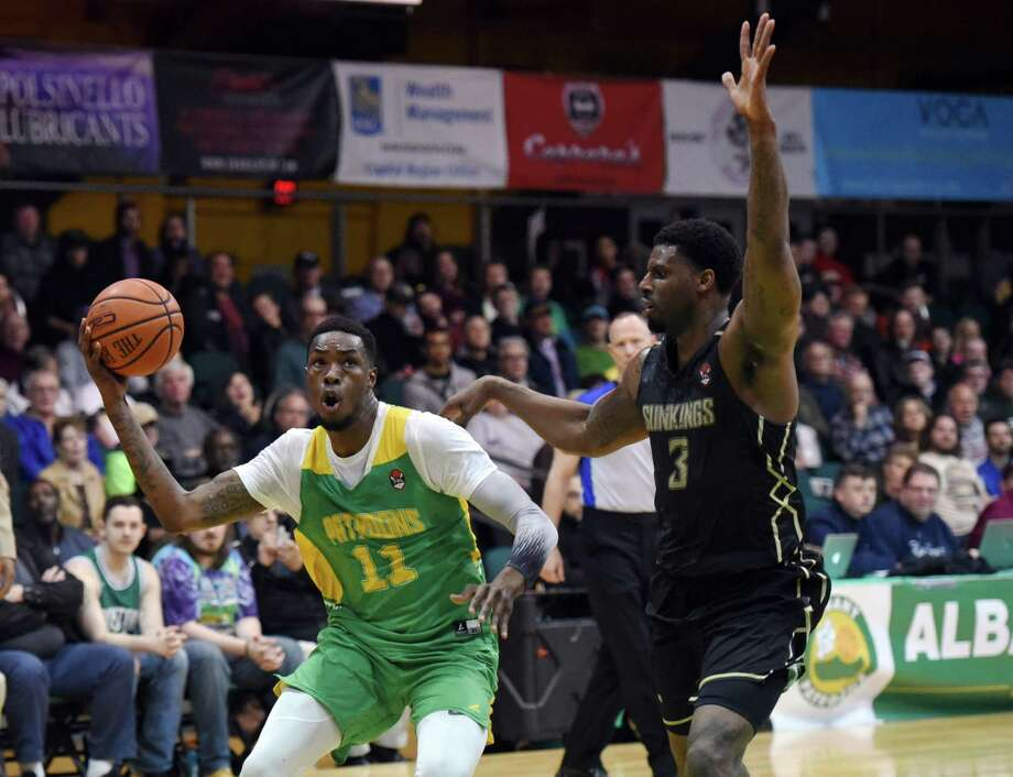Albany Patroons forward Darius Paul dribbles the ball toward the basket during the championship game against the Yakima SunKings on Friday, May 3, 2019 at the Washington Avenue Armory in Albany, NY. (Phoebe Sheehan/Times Union) Photo: Phoebe Sheehan, Albany Times Union / 20046829A