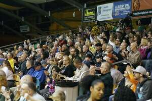 Albany Patroons fans cheer after the team scores a basket during the championship game against the Yakima SunKings on Friday, May 3, 2019 at the Washington Avenue Armory in Albany, NY. (Phoebe Sheehan/Times Union)