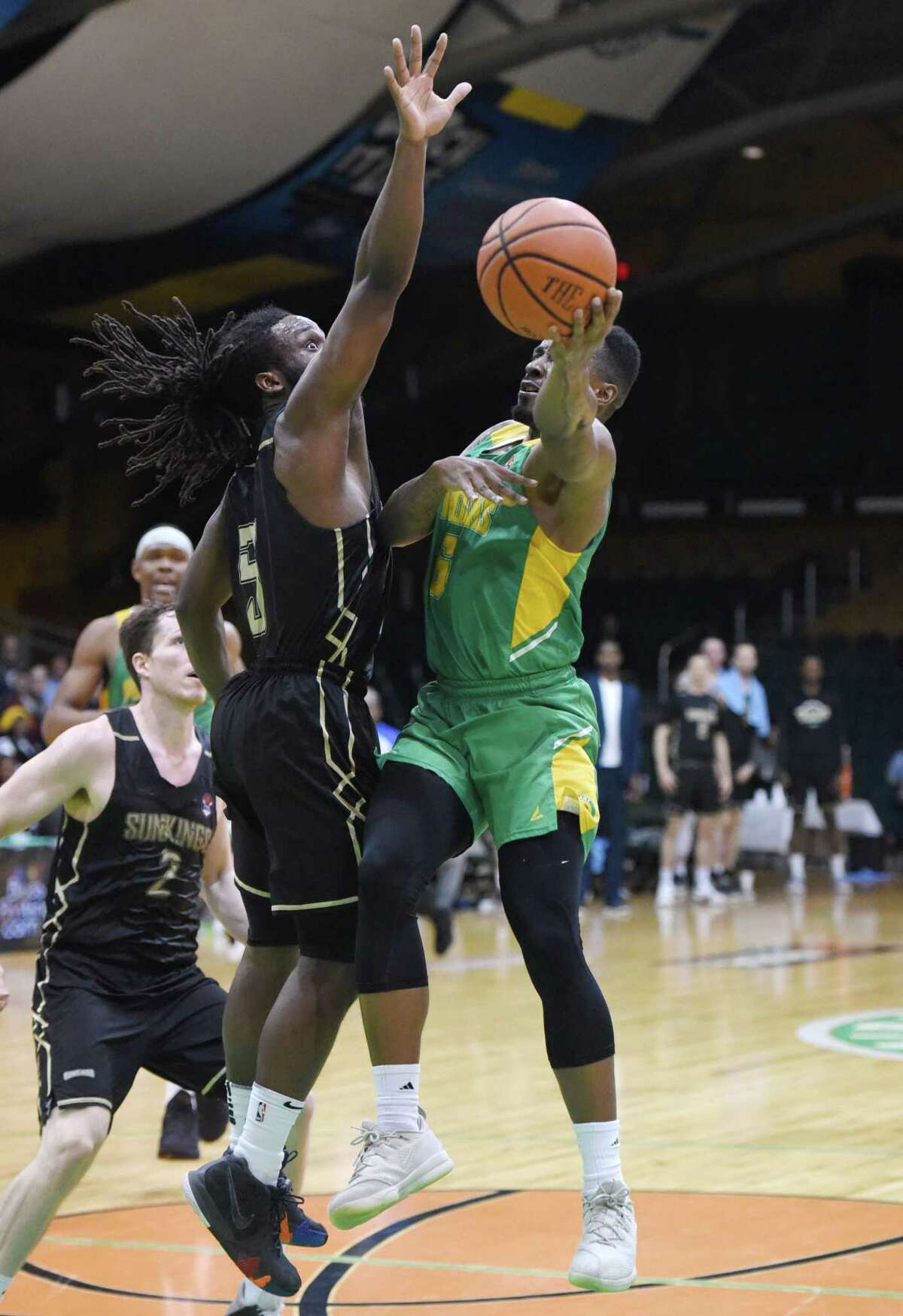 Albany Patroons guard Joshua Cameron pivots to take a shot at the basket during the championship game against the Yakima SunKings on Friday, May 3, 2019 at the Washington Avenue Armory in Albany, NY. (Phoebe Sheehan/Times Union)