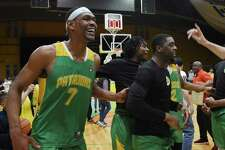 The Albany Patroons celebrate winning the championship game against the Yakima SunKings on Friday, May 3, 2019 at the Washington Avenue Armory in Albany, NY. (Phoebe Sheehan/Times Union)