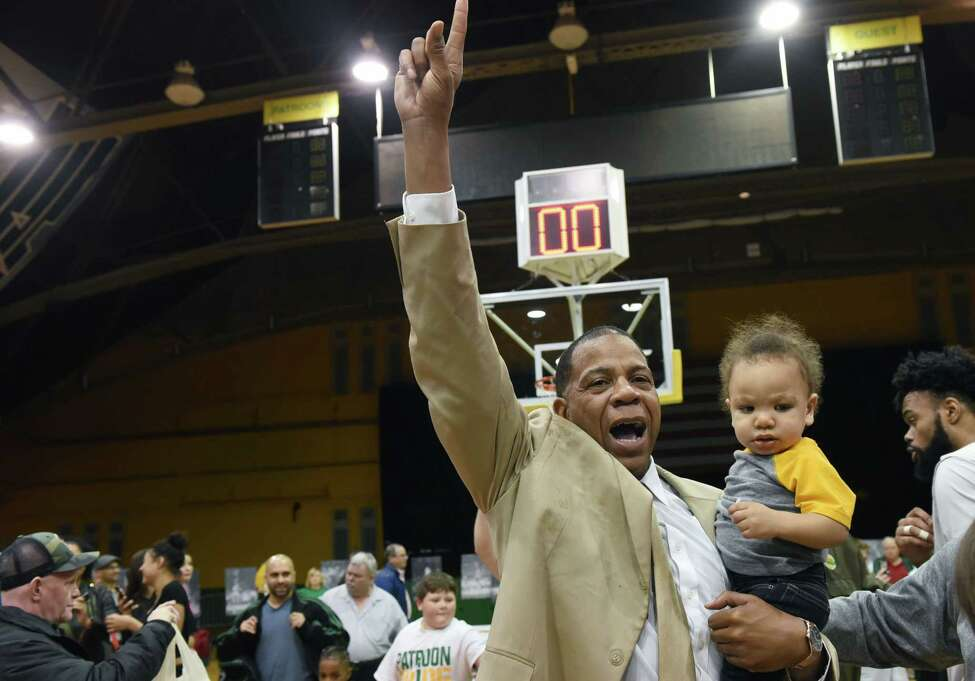 Albany Patroons Head Coach Derrick Rowland celebrates the team's championship win over Yakima SunKings on Friday, May 3, 2019 at the Washington Avenue Armory in Albany, NY. (Phoebe Sheehan/Times Union)