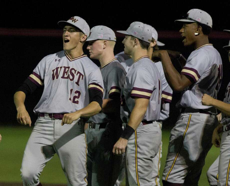 Magnolia West's Reid Snook (12) reacts after the Mustangs' 6-3 win over Willis in Game 2 of Region IIi-5A bi-districty high school baseball playoff series at Crosby High School, on Friday, in Crosby. Photo: Jason Fochtman, Houston Chronicle / Staff Photographer / © 2019 Houston Chronicle