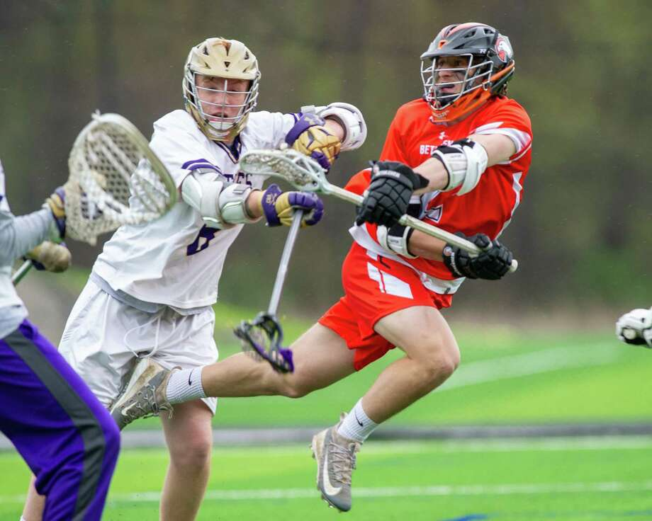 Bethlehem attackman Ben Reilly takes a shot against CBA during a  Suburban Council matchup at Afrim?s Sports Park in Colonie on Friday, May 3, 2019 (Jim Franco/Special to the Times Union.)