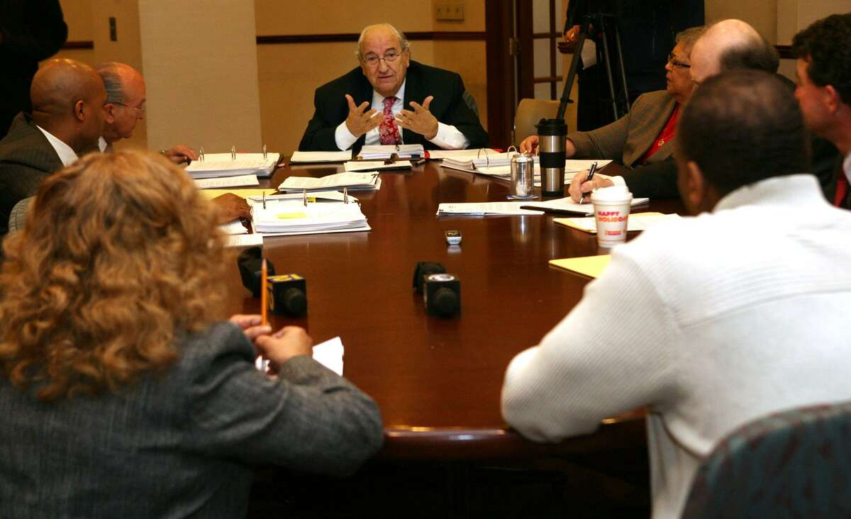 Former Bridgeport Mayor Nick Panuzio posed questions to voter registrars during a discussion at City Hall, following a controversial handling of ballots the night of the 2010 election for governor, won by Democrat Dannel P. Malloy.