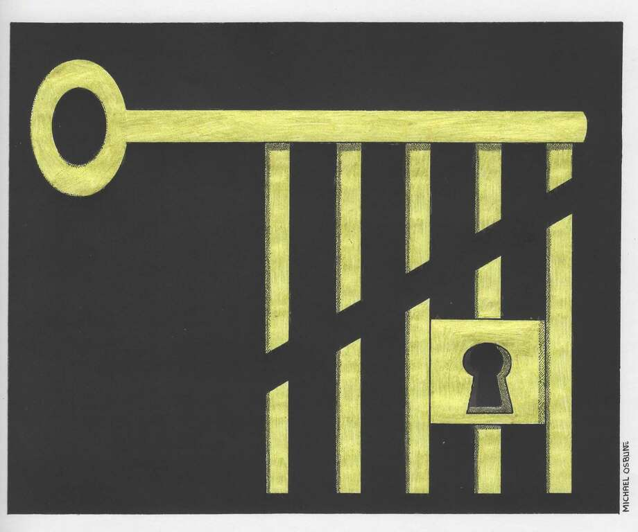 This artwork by Michael Osbun refers to the cutting of prison sentences. Photo: / Michael Osbun
