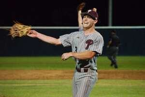 Pearland's Mason Lytle (3) celebrates after defeating Clear Lake Friday, May 3 at Clear Lake High School.