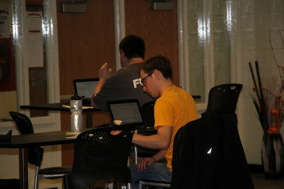 Area high school students put their computer programming skills to the test Saturday morning at the first ever Pirate Technology Expo in Harbor Beach. Photo: Seth Stapleton