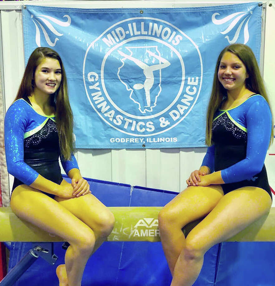 Paige Mouser, right, and Sevasti Binolis, Level 8 all-around gymnasts from Mid-Illinois Gymnastics in Godfrey, brought home four medals from the five-state Regional Championships, which were held last week in Bourbannais, Illinois. Mouser, 16, a Senior E gymnast, was first on vault (9.4) and sixth on balance beam (9.25). Binolis, a 14-year-old Senior B gymnast, was fourth in floor exercise and six in vault (9.1). Both gained points for their team, which was comprised of the top six qualifiers in their age group from Illinois, Michigan, Indiana, Ohio and Kentucky.