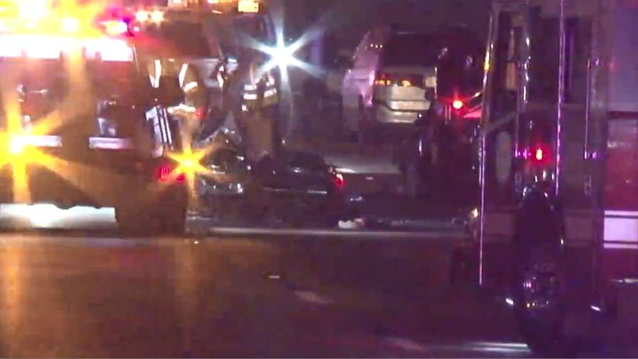 A screenshot of Metro Video footage of a major vehicle crash near South Post Oak Road and South Main Street in Houston, Texas. Around midnight Saturday, several cars spun out of control near the intersection. One motorcyclist was reported to be in critical condition after the crash. Photo: Metro Video Footage, LLC/For The Houston Chronicle