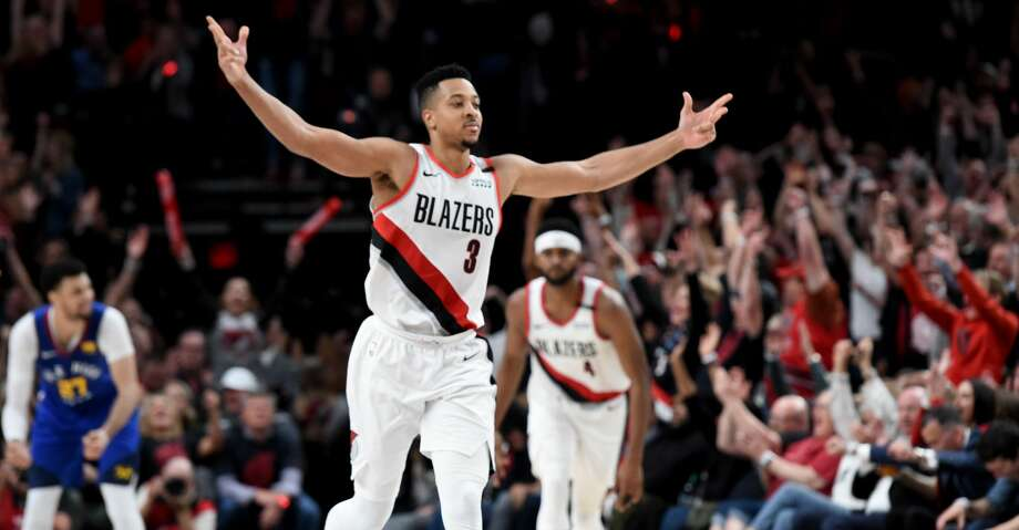 outlet store sale b020e 857a5 Trail Blazers get win in 4 OTs over Nuggets - Houston Chronicle
