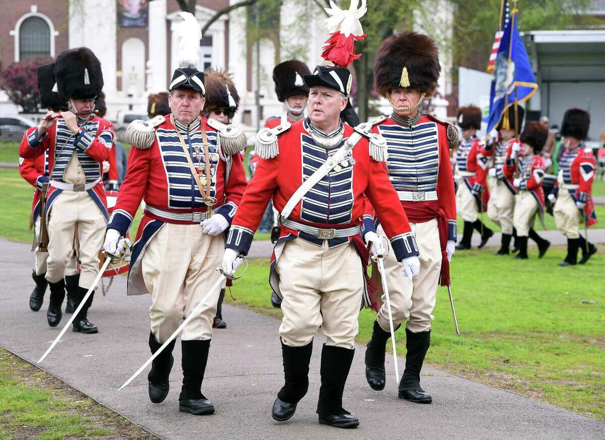 The Second Company Governor's Foot Guard takes part in a Battalion Review during a ceremony to commemorate the 244th anniversary of Powder House Day on the New Haven Green on May 4, 2019. The day commemorates local events following news of the battles of Lexington and Concord in the Revolutionary War.