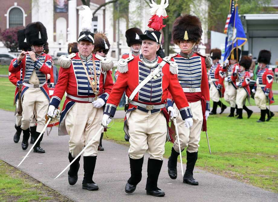 The Second Company Governor's Foot Guard takes part in a Battalion Review during a ceremony to commemorate the 244th anniversary of Powder House Day on the New Haven Green on May 4, 2019. The day commemorates local events following news of the battles of Lexington and Concord in the Revolutionary War. Photo: Arnold Gold / Hearst Connecticut Media / New Haven Register