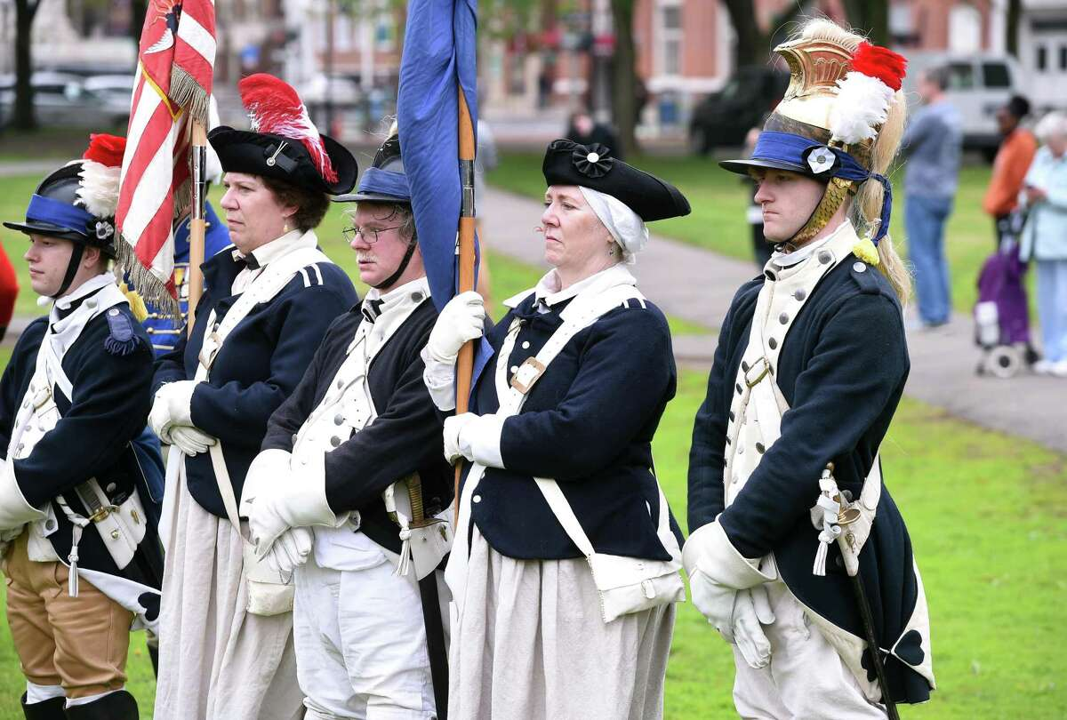 Members of the Second Continental Light Dragoons take part in a Battalion Review during a ceremony to commemorate the 244th anniversary of Powder House Day on the New Haven Green on May 4, 2019. The day commemorates local events following news of the battles of Lexington and Concord in the Revolutionary War.
