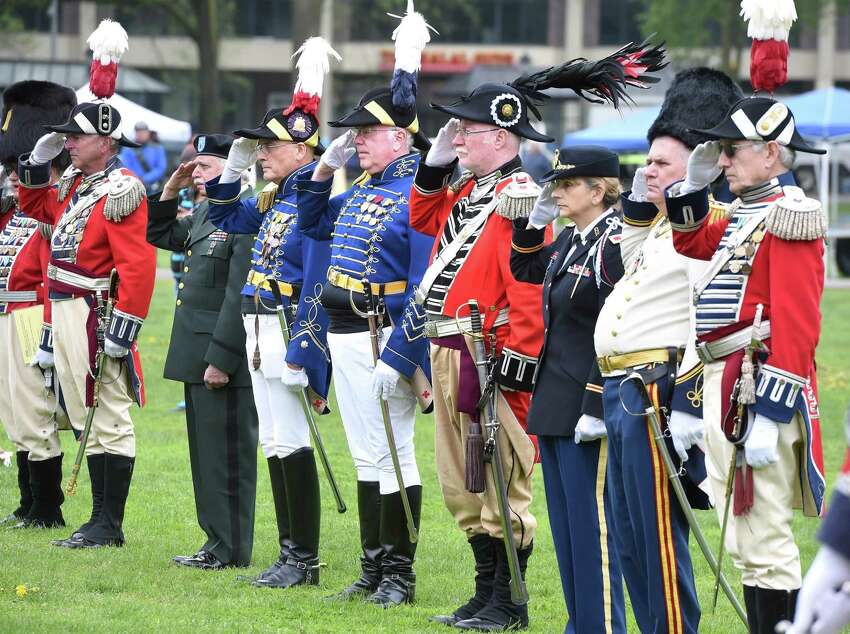 A Battalion Review takes place during a ceremony to commemorate the 244th anniversary of Powder House Day on the New Haven Green on May 4, 2019. The day commemorates local events following news of the battles of Lexington and Concord in the Revolutionary War.