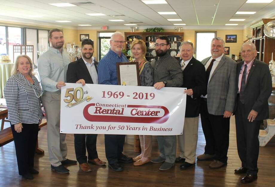 Connecticut Rental Center at 30 deKoven Drive in Middletown recently celebrated 50 years. From left are Downtown Business District Chairwoman Marie Kalita-Leary, Riley Byrne, Mayor Dan Drew, owner Thomas Byrne, Dawn Byrne, Garrett Byrne, Chamber Chairman Jay Polke, Vice Chairman Don DeVivo, and President Larry McHugh. Photo: Contributed Photo