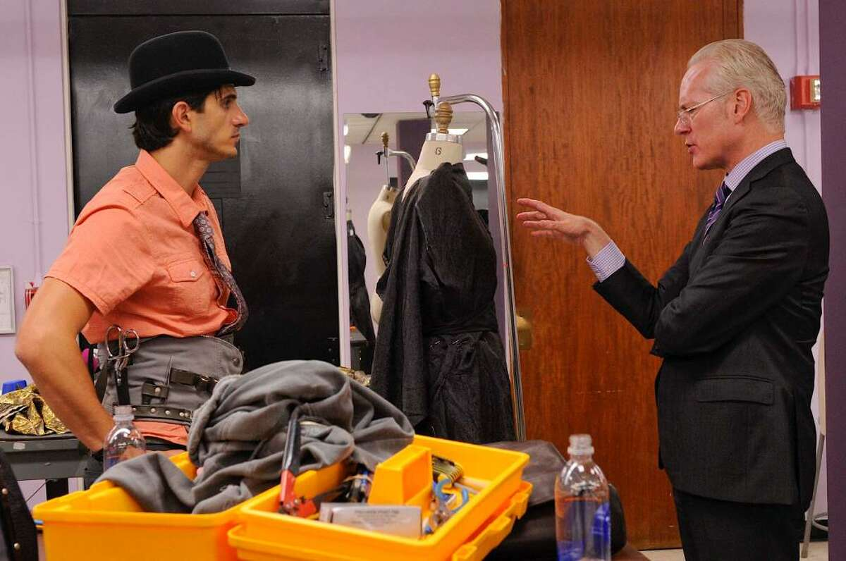 Barbara Nitke/Lifetime Television Greenwich designer Jason Troisi gets some advice from mentor and Liz Claiborne Chief Creative Officer Tim Gunn, during a scene from this season of 'Project Runway,' which airs Thursdays at 9 p.m. on Lifetime TV.
