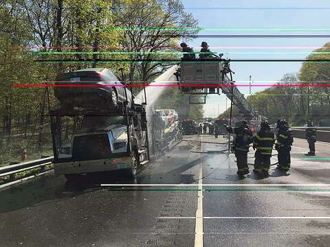 Norwalk I-95 fire involved tractor trailer car carrier - The Hour