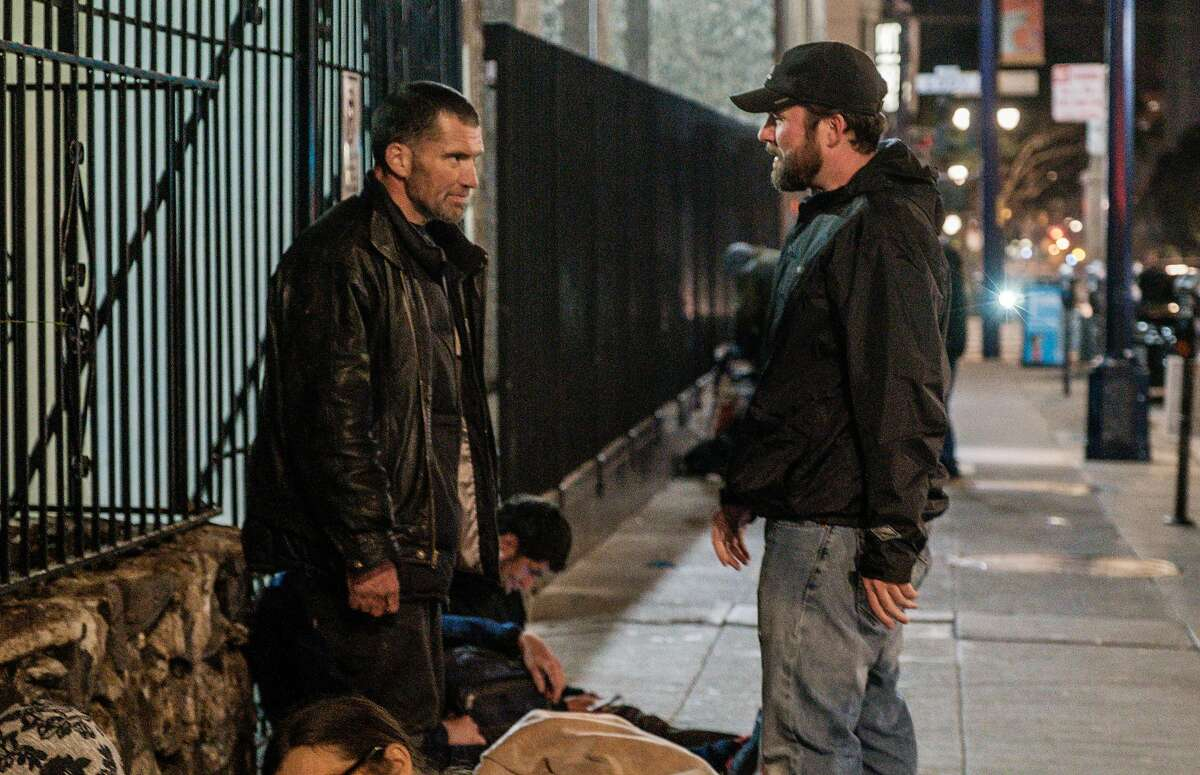 April 26, 2019 -Baron Feilzer greets his brother Tyson for the first time in 8 years after he and Vicki Lucas, an interventionist, had searched the streets all day for Tyson before finding him with the help of other homeless people. Tyson was quoted, with photo, in a story earlier this month -- and Baron has flown out from Ohio to find him. He had lost track and want to save him through rehab. (Nick Otto Special to the Chronicle)