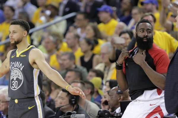 112b92ea9680 ... Golden State Warriors guard Stephen Curry (30) and Houston Rockets  guard James Harden (13) during the first half of Game 2 of an NBA playoff  game ...