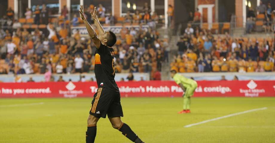 Houston Dynamo forward Mauro Manotas (9) celebrates after scoring a goal in the second half during the MLS game between the Real Salt Lake and the Houston Dynamo at BBVA Compass Stadium in Houston, TX on Saturday, March 2, 2019.   The game ended with a score of 1-1. Photo: Tim Warner/Contributor