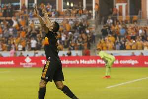 Houston Dynamo forward Mauro Manotas (9) celebrates after scoring a goal in the second half during the MLS game between the Real Salt Lake and the Houston Dynamo at BBVA Compass Stadium in Houston, TX on Saturday, March 2, 2019.   The game ended with a score of 1-1.