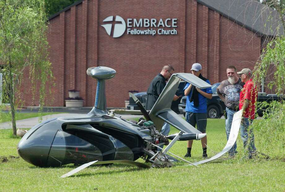 A gyrocopter is seen after its pilot from Anahuac crash the aircraft while attempting an autorotation into a church parking lot on Antique Lane and overcorrected, Saturday, May 4, 2019, in New Caney. The pilot, who was on his way home from nearby Cleveland, suffered a groin injury in the crash, but did not require further medical treatment. Photo: Jason Fochtman, Staff Photographer / © 2019 Houston Chronicle