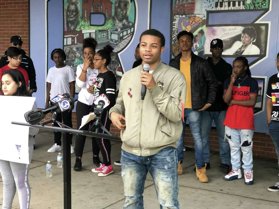 Young people with Ice the Beef called for an end to gun violence Saturday amid a recent surge of shootings in New Haven. Here, Juan Patterson speaks. Photo: Ben Lambert / Hearst Connecticut Media /
