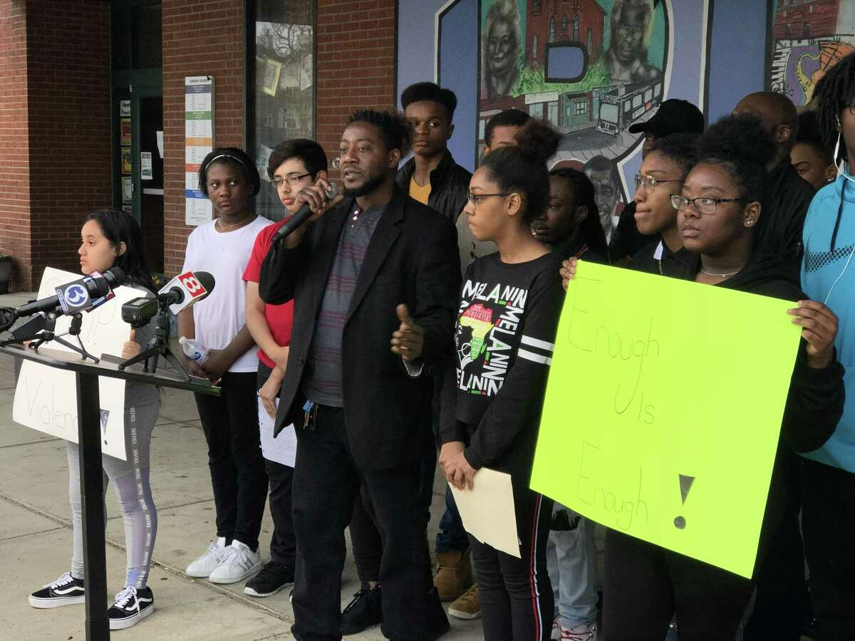 Young people with Ice the Beef called for an end to gun violence Saturday amid a recent surge of shootings in New Haven. Here, Ice the Beef President Chaz Carmon speaks.
