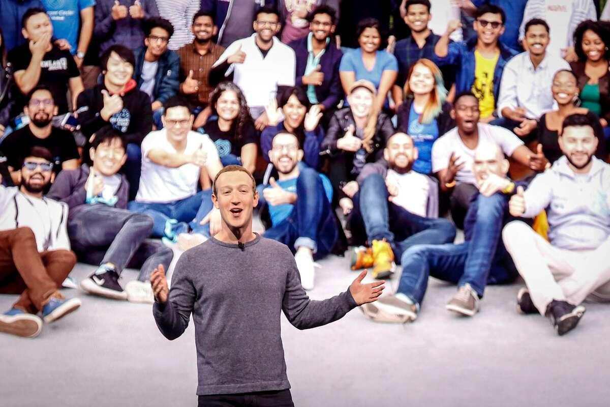 TOPSHOT - Facebook CEO Mark Zuckerberg delivers the opening keynote introducing new Facebook, Messenger, WhatsApp, and Instagram privacy features at the Facebook F8 Conference at McEnery Convention Center in San Jose, California on April 30, 2019. - Got a crush on another Facebook user? The social network will help you connect, as part of a revamp unveiled Tuesday that aims to foster real-world relationships and make the platform a more intimate place for small groups of friends. (Photo by Amy Osborne / AFP)AMY OSBORNE/AFP/Getty Images