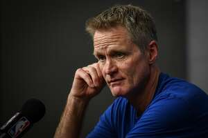 Golden State Warriors head coach Steve Kerr addresses the media during a press conference before game 3 of the NBA Western Conference Semifinals between the Golden State Warriors and Houston Rockets at the Toyota Center in Houston, Texas, on Saturday, May 4, 2019.