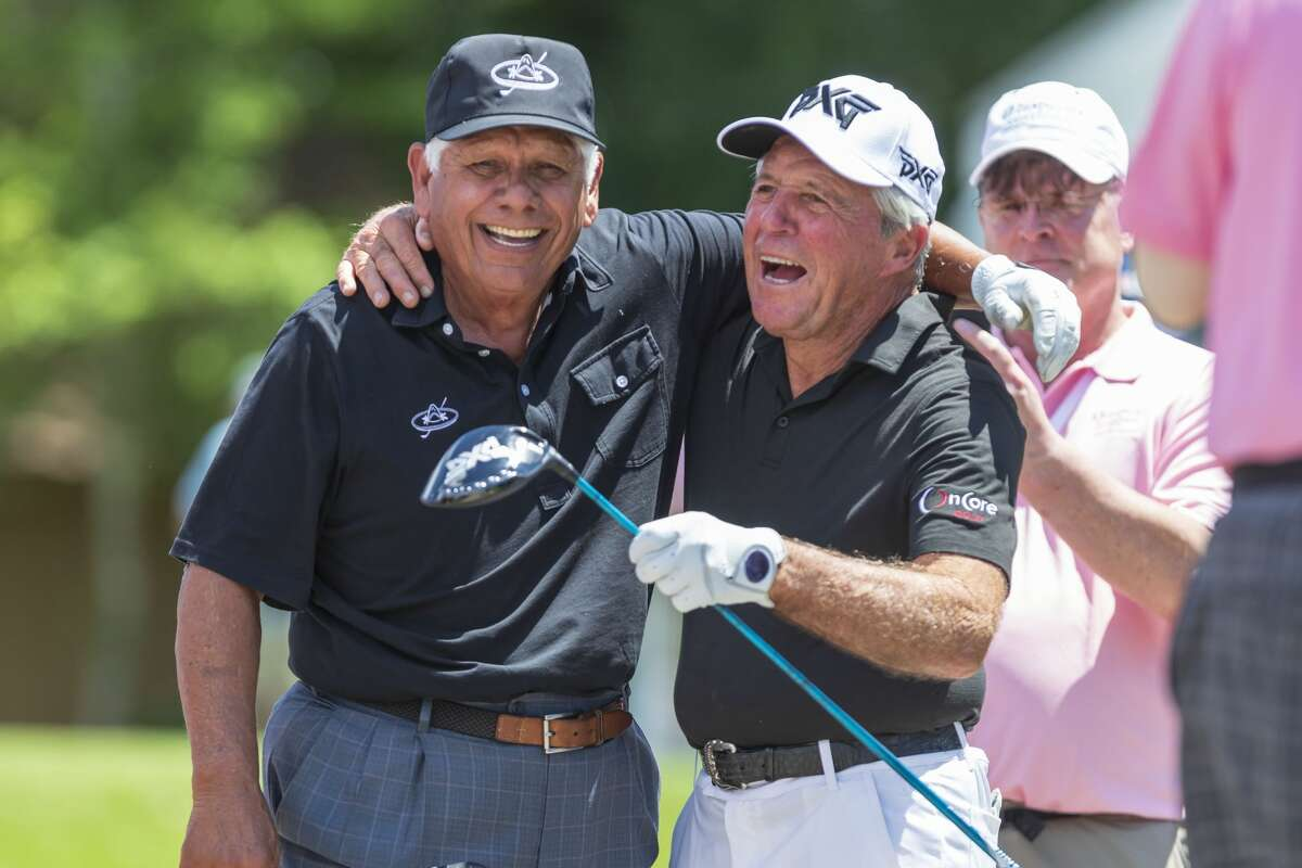 Lee Trevino and Gary Player share a laugh before teeing off in the 3M Greats of Golf portion of the Insperity Invitational at The Woodlands Country Club on Saturday, May 4, 2019, in The Woodlands, Texas.