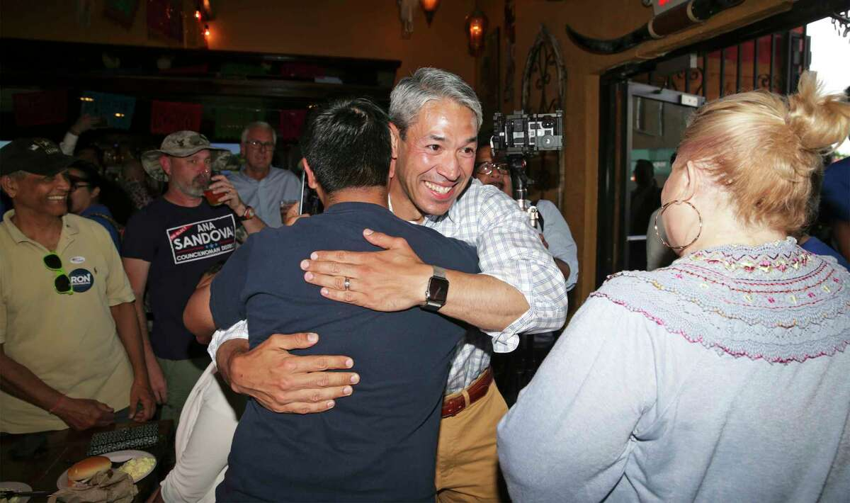 The candidate is greeted by supporters at an election night watch party for Mayor Ron Nirenberg at Augie's Barbecue on May 4, 2019.