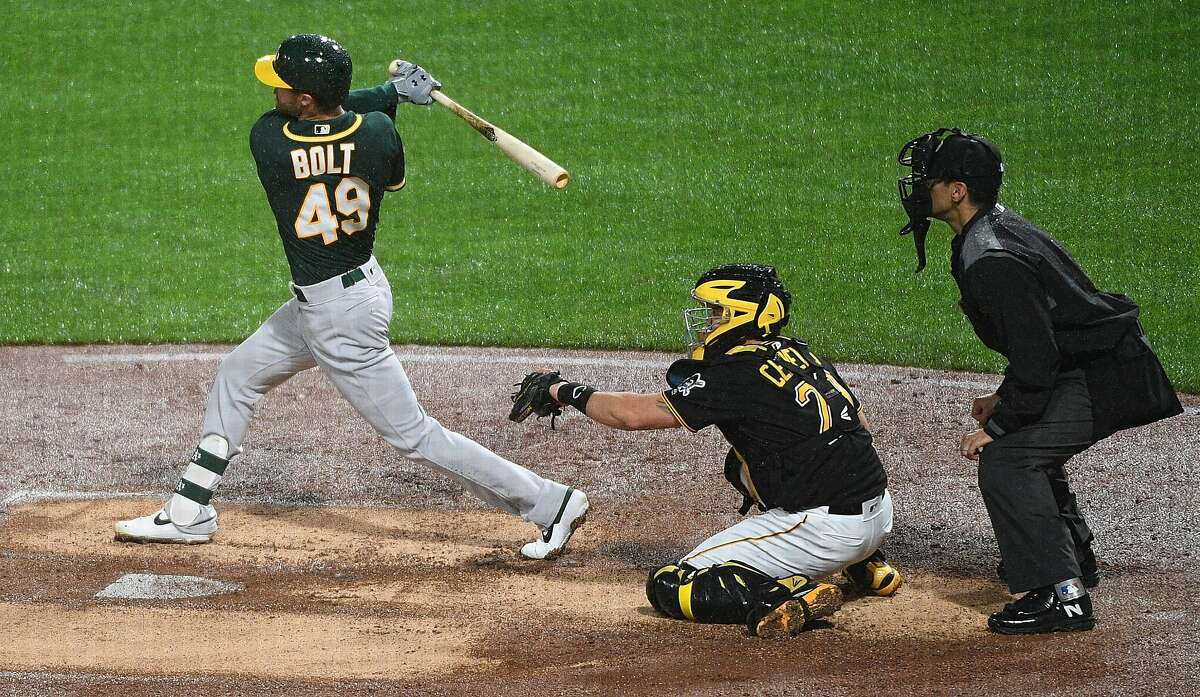PITTSBURGH, PA - MAY 04: Skye Bolt #49 of the Oakland Athletics hits a double to right field for his first Major League hit in the seventh inning during the game against the Pittsburgh Pirates at PNC Park on May 4, 2019 in Pittsburgh, Pennsylvania. (Photo by Justin Berl/Getty Images)