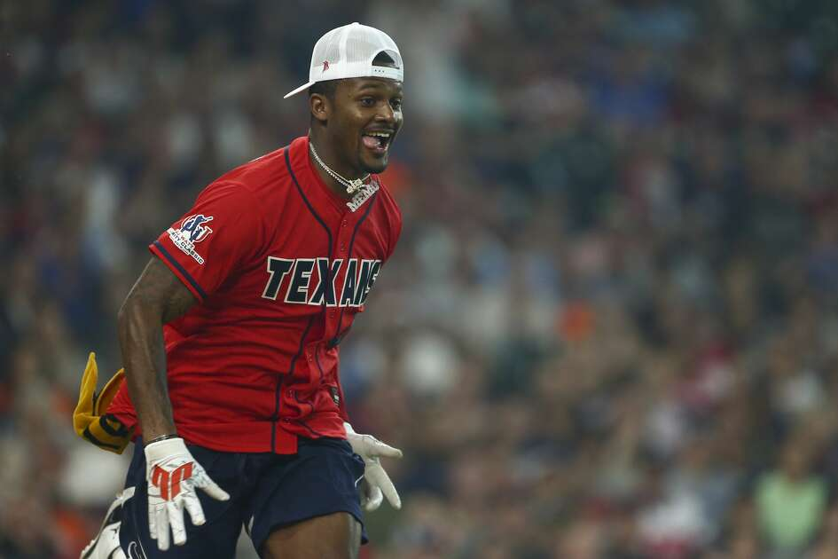 Houston Texans quarterback Deshaun Watson heads to first base after hitting a single during the J.J. Watt Foundation Charity Classic at Minute Maid Park Saturday, May 4, 2019, in Houston. The foundation's mission is to provide funding for middle schools across the country that have insufficient or no funding for after-school athletic programs.