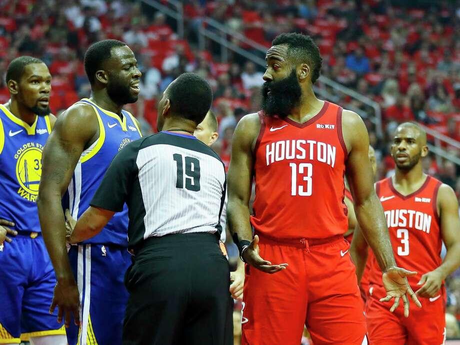 a5f13763e338 Golden State Warriors forward Draymond Green (23) and Houston Rockets guard James  Harden (