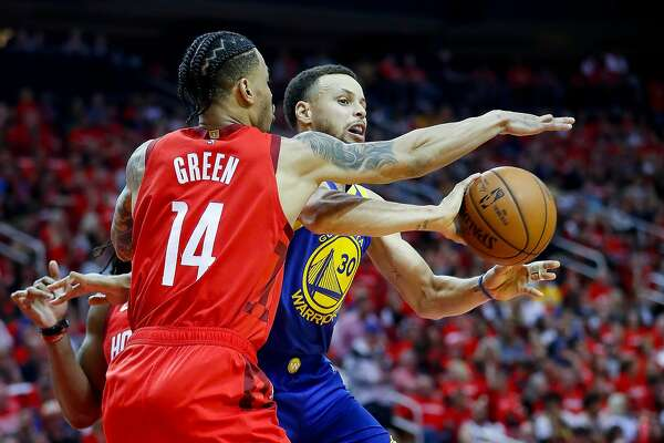 f794deb64aa 1of42Houston Rockets guard Gerald Green (14) defends Golden State Warriors  guard Stephen Curry (30) during the third quarter of Game 3 of a NBA Western  ...